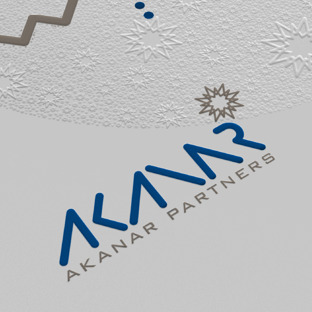 Detail of Ramadan greeting card for Akanar Partners with stars and text line in arabic focused on logo and embossing details