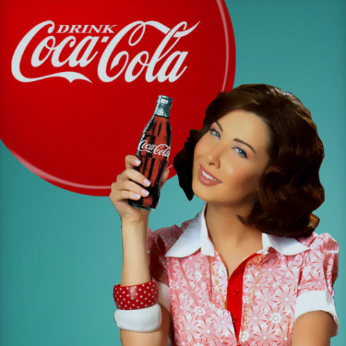 coca cola ambassador nancy ajram retro print campaign art direction